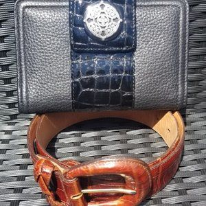 Brighton Embossed Leather Wallet and Belt size LG